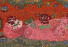 <strong>Covered with roses</strong>, 2009<br /> <em>Size:</em>70 x 36 cm<br /> <em>Technique:</em>hand embroidery, painting<br />	 <em>Material:</em>pearls, cotton, plywood